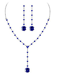 cheap -brass y-necklace blue aaaa cubic zirconia round pendant earrings silver plated jewelry set for women girls formal dress wedding prom party costume birthday