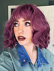 cheap -synthetic short curly bob wavy purple wig with bangs for women shoulder length pastel bob style synthetic wigs with air bangs for white women curly bob wig natural looking heat resistant wigs