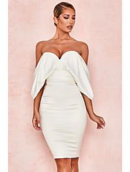 cheap -Sheath / Column Minimalist Sexy Homecoming Graduation Dress Strapless Sleeveless Knee Length Spandex with Bow(s) 2021