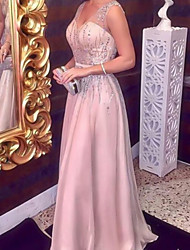 cheap -Sheath / Column Sparkle Elegant Engagement Formal Evening Dress V Neck Sleeveless Floor Length Satin with Sequin 2021