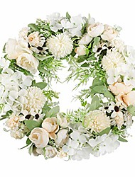 """cheap -artificial wreath for front door 16"""" fake champagne flower spring wreath green leaves wreaths for wedding outdoor kitchen home décor"""