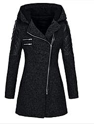 cheap -Women's Solid Colored Basic Fall & Winter Coat Long Daily Long Sleeve Wool Coat Tops Black