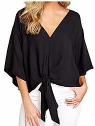 cheap -womens casual floral print loose fit blouse sexy v neck kimono short bat wing sleeves tie front tops shirts (black, l)