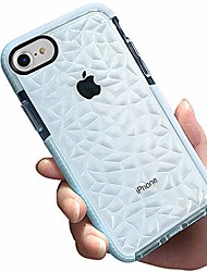"cheap -compatible for iphone 8/7/6s/6 case 4.7"", women girls men crystal clear slim 3d diamond pattern soft tpu dual layer air cushion shockproof drop protection durable phone protective cover - blue"