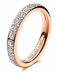 cheap -women wedding bands 3mm engagement rings for women 18k gold plated cubic zirconia eternity rings dainty diamond wedding anniversary band size 5 to 9 gift for her (rose gold, 9)