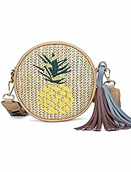 cheap -harvest round woven ata rattan beach bag for women boho chic summer circle straw small purse crossbody pineapple