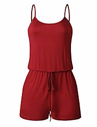 cheap -women summer adjustable straps sleeveless drawstring solid one piece shorts pant jumpsuit romper (red, small)