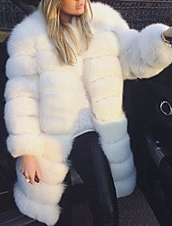 cheap -Women's Faux Fur Coat Regular Solid Colored Daily White S M L XL