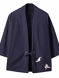 cheap -men's japanese kimono jacket yukata casual linen seven sleeve lightweight printed crane cardigan shirts (39-navy, xl)