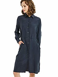 cheap -women's 100% silk dress long sleeve v neck button down drawstring with pocket tunic casual ladies shirt large navy