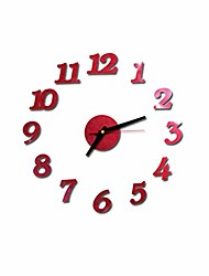 cheap -office home wall clock 3d diy self adhesive interior wall sticker numbers clocks for living room bedroom decor mural decals (red)
