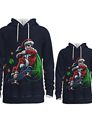 cheap -Family Look Active Santa Claus Graphic optical illusion Print Long Sleeve Regular Hoodie & Sweatshirt Navy Blue