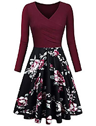 cheap -casual dresses, women's floral printed elegant dress a line cap sleeve v neck wine red