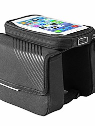 cheap -waterproof bike phone front frame bag bike frame bag head tube bag double bag pouch holder crossbar bag waterproof with 6 inch tpu sensitive touchscreen front top tube frame pannier for smartphones