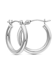 cheap -tiny 14k white gold hoop earrings, 12mm diameter (white-gold)