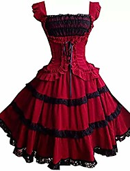 cheap -red gothic lolita dress for women girls vintage steampunk dress up cosplay skirts xl