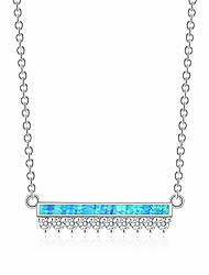 cheap -opal necklace white gold plated opal pendant necklace jewelry gifts for women gemstone necklaces (thin bar with cz-blue)