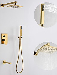 cheap -200*200 Gold Shower Faucets Sets Complete with Stainless Steel Shower Head, Solid Brass Handshower, and Rotary Nozzle Wall Mounted Installation Rainfall Shower Head System