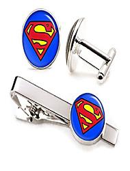 cheap -classic superman tie clip, man of steel cufflinks tack, justice league jewelry cuff links, superhero wedding party jewelry