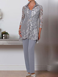 cheap -Pantsuit / Jumpsuit Mother of the Bride Dress Wrap Included V Neck Ankle Length Chiffon Lace 3/4 Length Sleeve with Crystal Brooch 2021