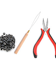 cheap -Micro Links Hair Extension Kit Tool 200 Pcs Micro Ring Beads(Black Blonde and Brown) 1 Micro Beads Plier 1 Hook Needle Pulling Loop