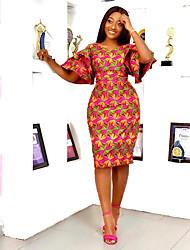 cheap -Women's Sheath Dress Knee Length Dress - Half Sleeve Print Patchwork Print Spring Fall V Neck Casual 2020 Fuchsia S M L XL XXL