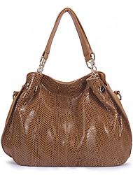 cheap -women genuine leather handbag snakeskin shoulder bag fashion elegant top handle bag for ladies, black