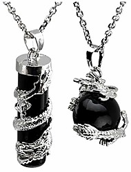 cheap -2pc dragon wrapped black agate round ball cylinder gemstone healing crystal pendant necklace set
