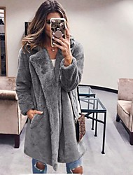 cheap -Women's Winter Teddy Coat Long Solid Colored Daily Black Fuchsia Camel Dark Gray S M L XL