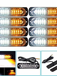 cheap -led emergency strobe light  8pcs super bright ultra slim 10led caution hazard construction waterproof strobe light bar with 18 different flashing for car truck suv van amber white