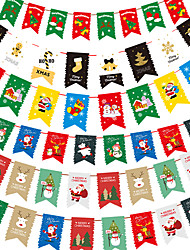 cheap -Christmas Toys Christmas Decorations Banner Pull Flag Santa Claus Reindeer Merry Christmas Waterproof Removable Party Favor PVC Paper 6 pcs Kid's Adults 16*26cm Christmas Party Favors Supplies