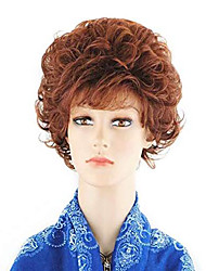 cheap -short curly wavy auburn red office lady wigs for women synthetic wig with bang for cosplay costume party