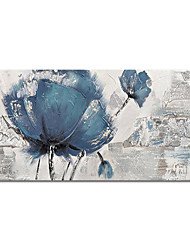 cheap -Hand-Painted Abstract Blue Flowers Paintings Canvas Art Painting Abstract Acrylic Painting Modern Art Textured Art with Stretcher Ready to Hang With Stretched Frame