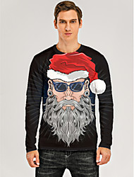 cheap -Men's 3D Graphic T-shirt Print Long Sleeve Christmas Tops Round Neck Black / Gray