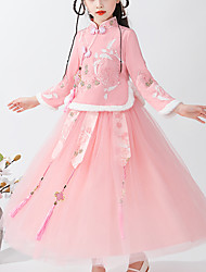 cheap -Kids Little Girls' Dress Floral Tribal Lace up Blushing Pink Red Midi Half Sleeve Chinoiserie Cute Dresses Children's Day Regular Fit