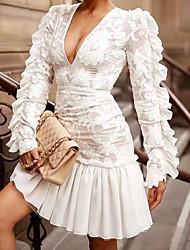 cheap -Women's A-Line Dress Short Mini Dress - Long Sleeve Solid Color Lace Sequins Mesh Summer Plus Size Sexy 2020 White S M L XL XXL