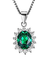cheap -jewelrypalace 2.5ct gemstones birthstone simulated emerald 925 sterling silver halo pendant necklace for women princess diana william kate middleton necklace chain box 18 inches