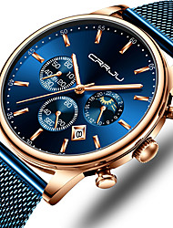cheap -men watch fashion business chronograph waterproof watch with mesh srtap rose blue