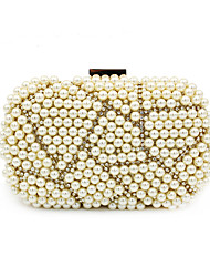 cheap -Women's Bags Polyester Alloy Evening Bag Pearls Crystals Pearl Rhinestone Wedding Bags Wedding Party Gold