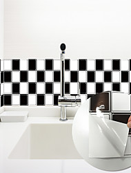 cheap -3D Mosaic Black and White Classic Wall Stickers Bathroom Waterproof Tile Stickers Kitchen Oil and Antifouling Stickers 240*20cm