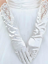 cheap -Satin Elbow Length Glove Lace / Gloves With Appliques