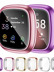 cheap -omee 6-pack sense screen protector case compatible with fitbit sense/fitbit versa 3, soft tpu bumper full cover protective case, for sense&versa 3 watch scratch-proof
