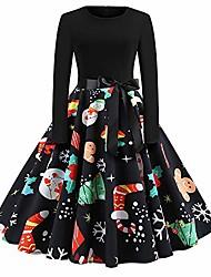 cheap -women's long sleeve round neck casual speaker print christmas dress send lace (medium, black304)