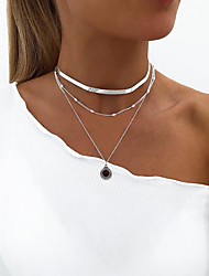 cheap -Women's Necklace Layered Necklace Stacking Stackable Simple European Fashion Alloy Gold Silver 30 cm Necklace Jewelry 1pc For