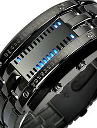 Недорогие -Mastop мужские часы с цифровым браслетом, лава, нержавеющая сталь, красная лава, светодиодные (серебристый - бинарные синие светодиодные часы)