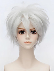 cheap -Synthetic Wig Toupees Straight Pixie Cut  Short Silver Grey Curly Band Bangs Cospaly Wig Holiday WigSynthetic Hair 8 inch Men's Simple Classic Synthetic Wigs