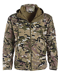 cheap -Men's Hunting Jacket Outdoor Thermal Warm Adjustable Waterproof Windproof Autumn / Fall Spring Winter Camo Jacket Zip Top Softshell Jacket Softshell Polyester Long Sleeve Camping / Hiking Hunting