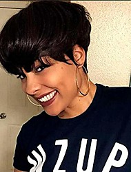 cheap -tuneful pixie cut wigs for black women human hair brazilian virgin hair wigs machine made wigs with bangs (pixie bob wigs, black)