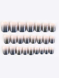 cheap -24 Pcs Grey Powder New Geometric Series Fake Nails Finished Nail Art Patch Fake Nail Wearing Nail Art Nail Patch Color Nail Patch