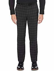 cheap -portfolio mens plaid slim fit dress pants black 30/30